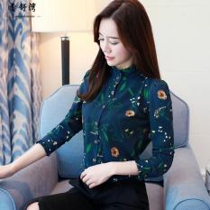 Shirt Female Long Sleeve Printed 2018 Spring Clothing New Style Han Van Versatile Floral Print Slim