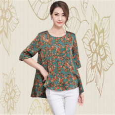 155f56b1ab4f Middle-aged women Silk Blouse Summer New Style Real Silk T-shirt Mom Large