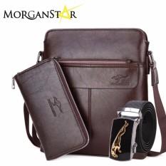 Foyidaishu Man 3 In 1 Kangaroo Leather Bag For Men Dark Brown
