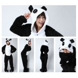 bda6d8c835 GETEK Panda Adult Unisex Pajamas Cosplay Costume Onesie Sleepwear S-XL ( Black+White)