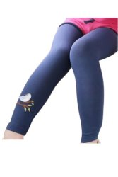 Girls' Cotton Embroidered Bird Leggings Pants Navy Blue 100