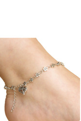 Girls Handmade Vintage Heart Chain Anklet Jewelry (Silver)