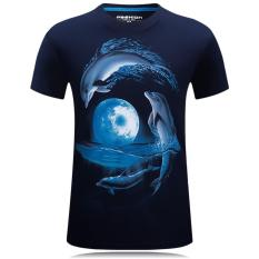 Good Quality Cotton Dolphin Printed 3D Round Neck Short Sleeve Big Size S-5XL Fat