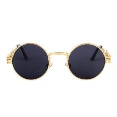 Gothic Steampunk Sunglasses Men Women Round Shades Sun Glasses UV400 Mirror Lens Eyeglasses Colour:C4