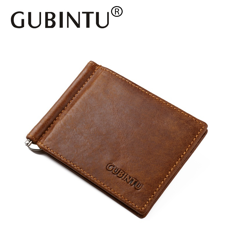 GUBINTU Genuine Cowhide Leather Money Clip Wallet Men Slip Metal Short Wallets Men Slim Clutch Men
