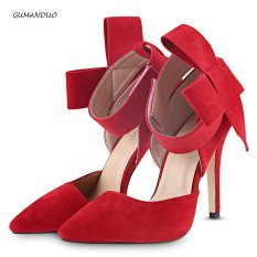 d89a1fb03 Gumanduo Elegant Oversize Bowknot Embellishment Magic Tape High Heel Shoes  For Women(Red) -