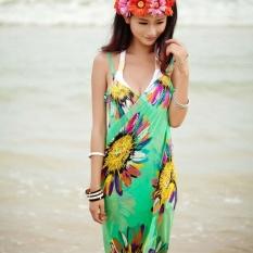 Hang-Qiao Bikini Strap Flower Beach Dress Shawl Scarf for Women (Light Green)