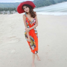 Hang-Qiao Bikini Strap Flower Beach Dress Shawl Scarf for Women (Tangerine) -