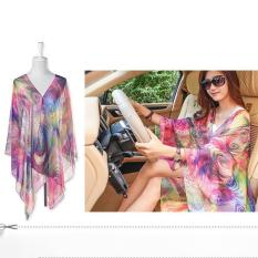 Hang-Qiao Chiffon Shawls Scarf Pearl Button Peacock Feathers Sunscreen Clothing Scarf (Multicolor)
