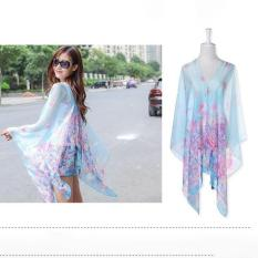 Hang-Qiao Floral Print Chiffon Shawls Scarf Pearl Button Sunscreen Clothing Scarf (Light Blue