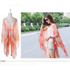 Hang-Qiao Floral Print Chiffon Shawls Scarf Pearl Button Sunscreen Clothing Scarf (Orange)