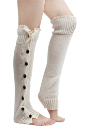 Hang-Qiao Knee High Socks (Beige)