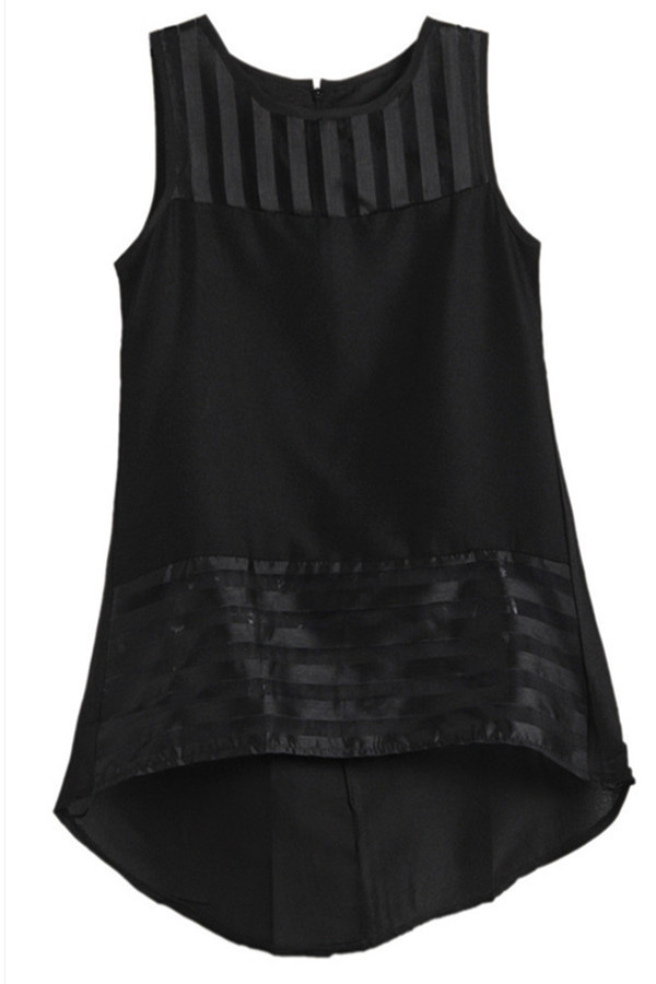 Hang-Qiao Sleeveless Organza Chiffon Top (Black) product preview, discount at cheapest price