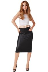 Hang-Qiao Women Sexy Leather Pencil Skirts Casual Black