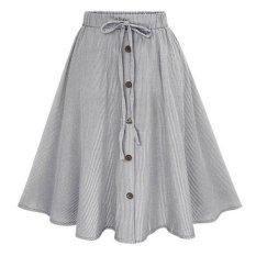 Hang-Qiao Women Vintage Stretch High Waist Striped Pleated Long Skirt Dress (Black)