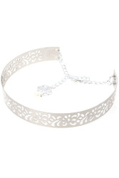 Hanyu Full Metal Mirror Hollow Carved Waist Belt Silver