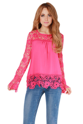 Hanyu Long Sleeve Hollow Out Flowers Blouse Bud Silk Shirt Rose