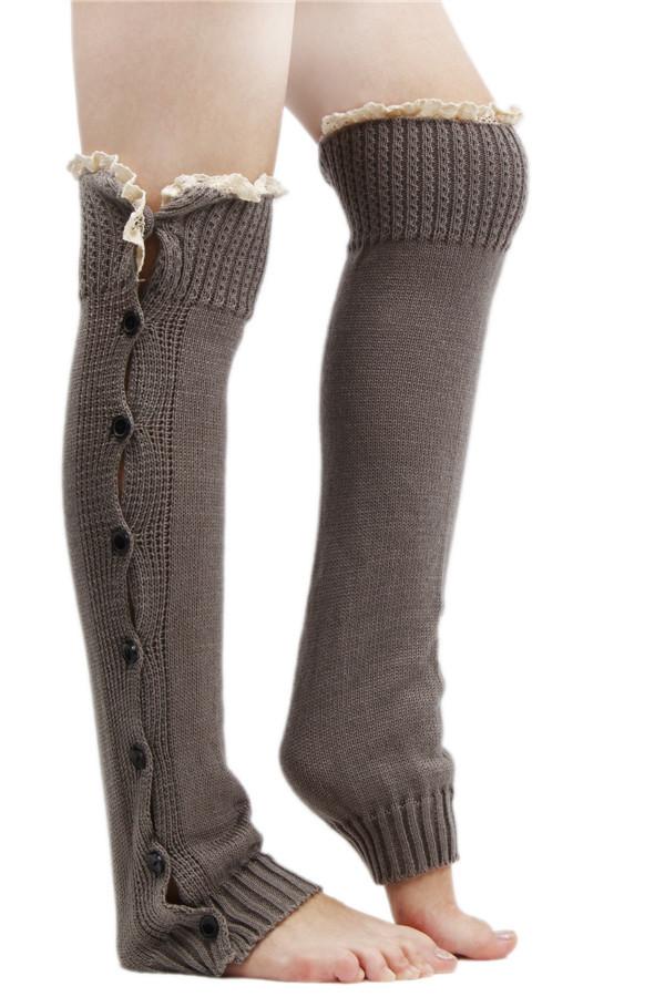 Hengsong Crochet Lace Trim Leg Warmers Socks Light Grey