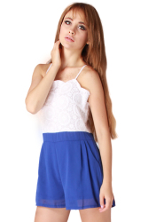 HengSong Lace Splice Playsuit (White/Blue)