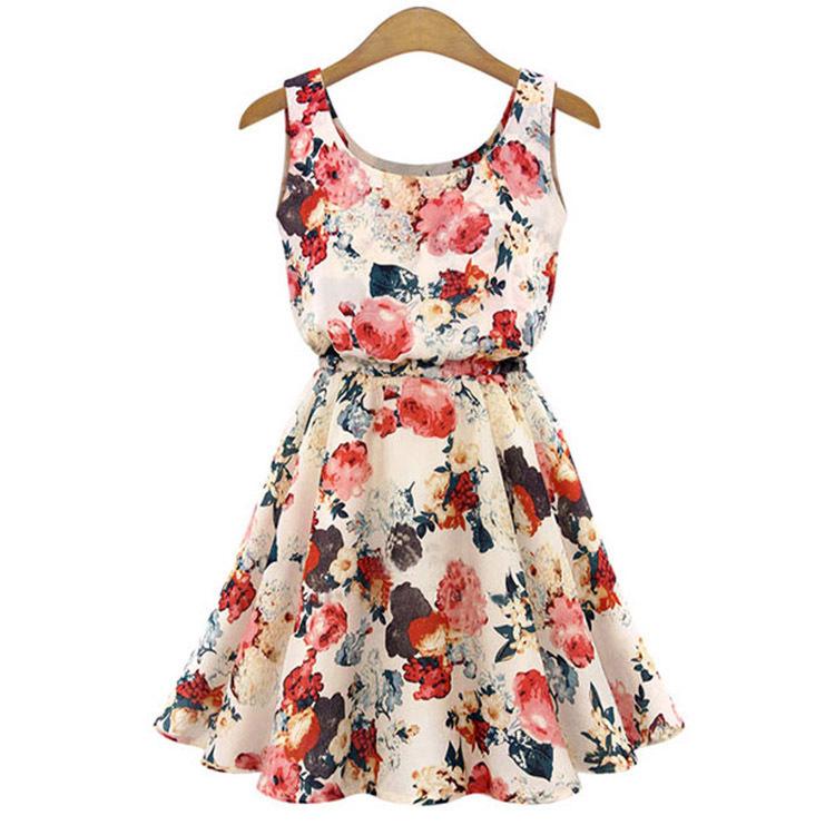 Hequ Collar Sleeveless Floral Print Chiffon Dress (Apricot) - thumbnail