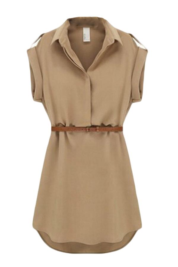 Hequ Short Sleeve Dress With Belt (Kahki) - thumbnail