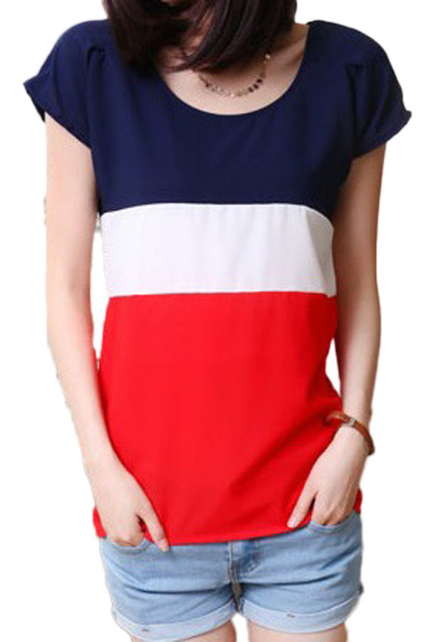 Hequ Women Tops Chiffon Color Mosaic T-shirt (Red) product preview, discount at cheapest price