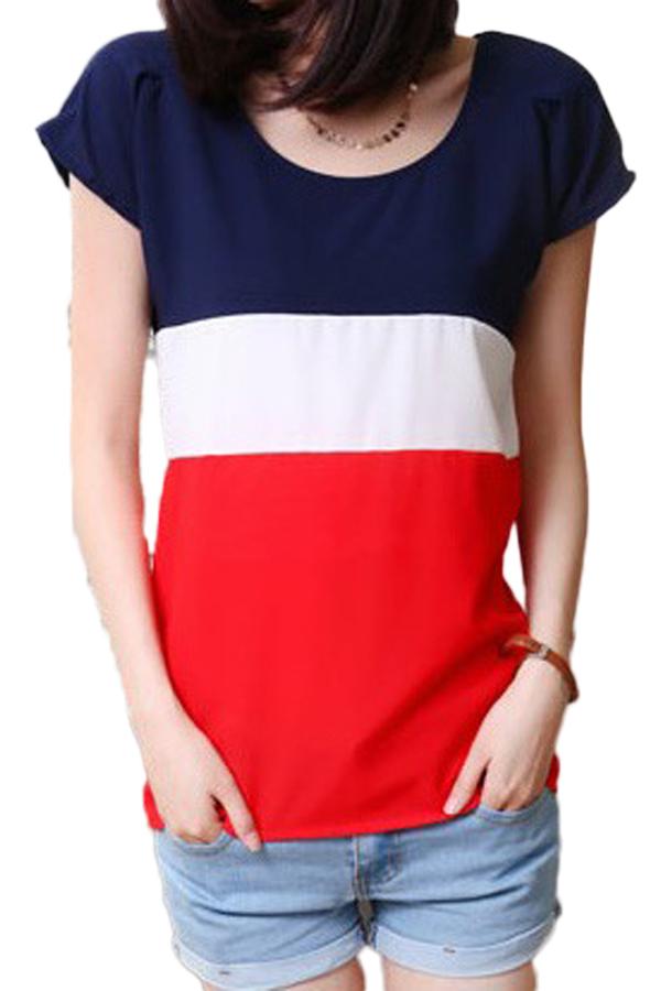 Hequ Women Tops Chiffon Color Mosaic T-shirt (Red) - thumbnail