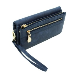 High Capacity Fashion Women Wallets Long Dull Polish PU Leather Wallet Female Double Zipper Clutch Coin Purse Ladies Wristlet (bule) - intl