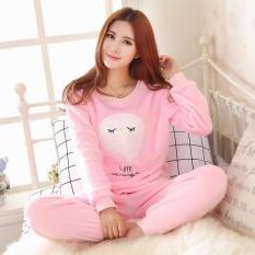 124c6d8244 High Quality Spring Women Pyjamas Sets Thick Warm Coral Velvet Suit Flannel  Long Sleeve Female Cartoon