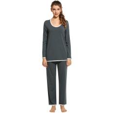 3ef4a3d5d500 Sunwonder High Quality New Fashion Women Pure Cotton Long Sleeve Shirt and  Elastic Waist Pants Sleepewear