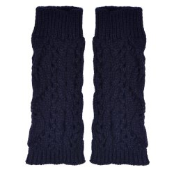 Hollow Out Leaves Knitted Gloves Navy
