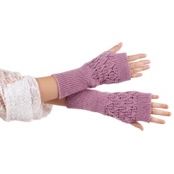 Hollow Out Leaves Knitted Gloves Purple