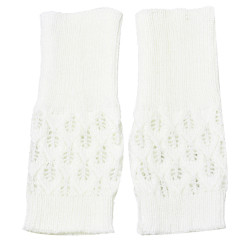 Hollow Out Leaves Knitted Gloves White