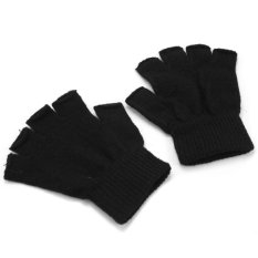 Hot Sale 1 Pair Mens Outdoor Half Finger Fitness Gloves Winter Black Knitted Stretch Elastic Thermal Warm Fingerless Gloves Back To Search Resultsapparel Accessories