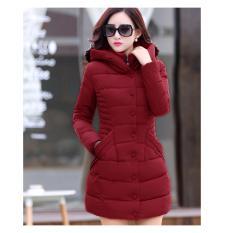 a982eda388d Hot Fashion - womens coat winter Korean coats padded jacket plus size(Wine  Red)