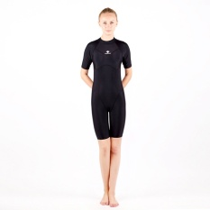 c1b8daa8a4 HXBY Black Short Sleeve Swimwear Women One Piece Swimsuit Solid Competitive  Swimming Suit For Women Plus