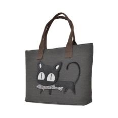 International Cartoon Cat Canvas Shoulderbag Handbag Women Lunch Bag Tote(Black) - Intl -