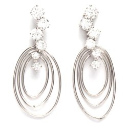 Jewelworld Tiffany 2 Earrings (Silver/White)