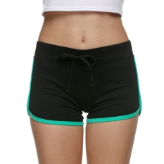JinGle Women Sport Slim Drawstring Mini Shorts (Black+Green) - intl