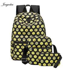 73b47356c3 Jorgeolea 3 Pieces Emoji Smile Face Backpack Women Shoulder Backpack  Student School Bag Nylon Labtop Rucksack