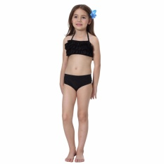 b36af21576 JS Summer Holiday Children Girls Two Pieces Swimsuit Halter Tube Top   Short  Pant Bathing Suit