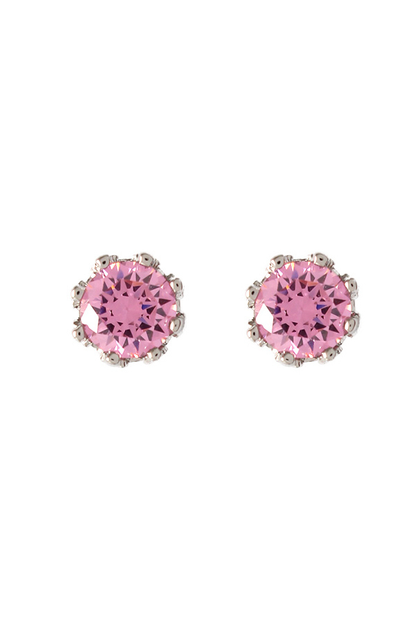 Juicy Couture Princess Cubic Zirconia Pink Studs Earrings (Silver)
