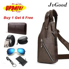 JvGood Men PU Leather Chest Bags Casual Bags Men Waterproof Sling Messenger Shoulder Bags Hiking Cycling