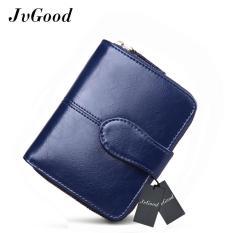 JvGood Oil Wax PU Leather Women Short Wallets Zipper Small Wallet Coin Pocket Credit Card Holder