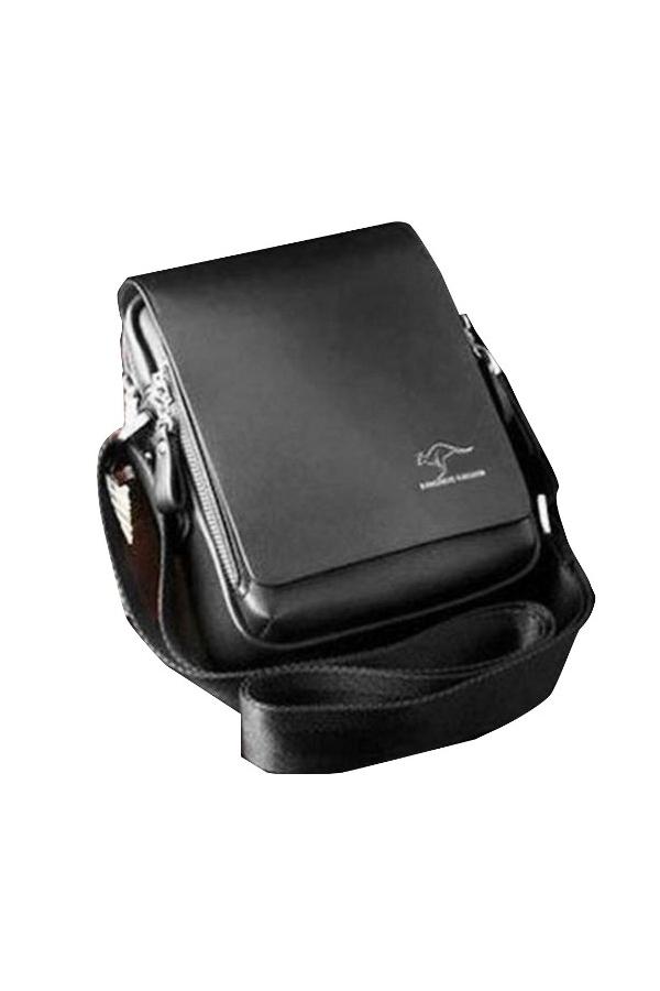 Kangaroo Kingdom Men's Vertical PU Shoulder Bag Messenger Bag - Size M Black - thumbnail