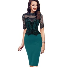 ... Kenancy Womens Elegant Vintage Retro Floral Lace Peplum See Through Mesh Patchwork Party Club Bodycon Fitted