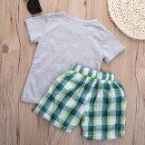 e247ae75f89a Kid Boy Crocodile T-shirt Top With Pants Outfit 2Pcs Sets Summer Clothes -  intl