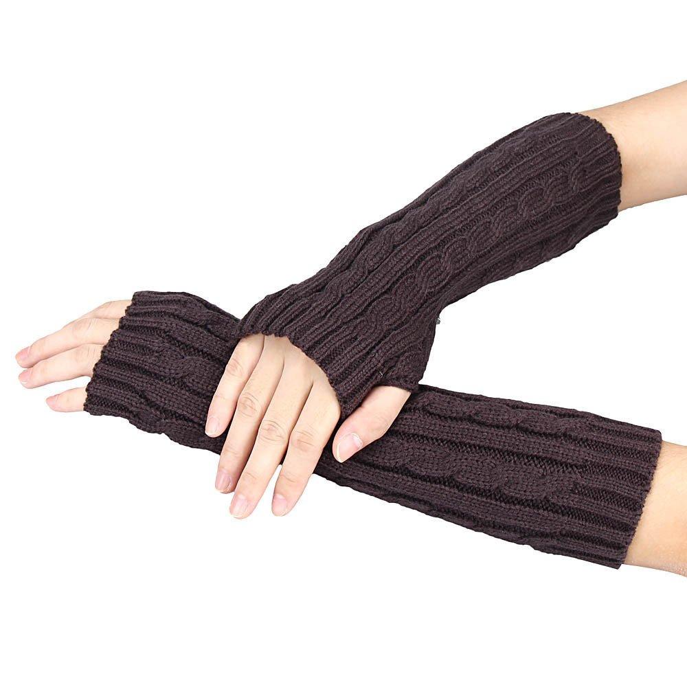 Knitted Arm Fingerless Winter Gloves Unisex Soft Warm Mitten Coffee - thumbnail