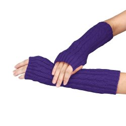 Knitted Arm Fingerless Winter Gloves Unisex Soft Warm Mitten Purple - Intl