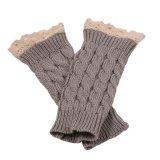 Knitted Fringe Warm Gloves Grey - thumbnail 1